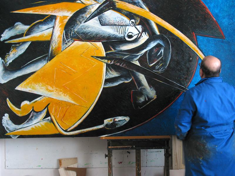 Felice Lovisco nel suo studio in via Tirreno, 43