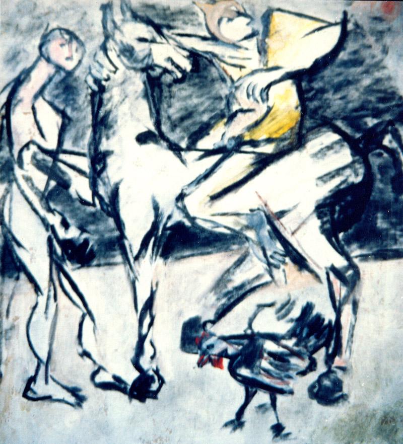 Felice Lovisco, tecnica mista su carta, 1975