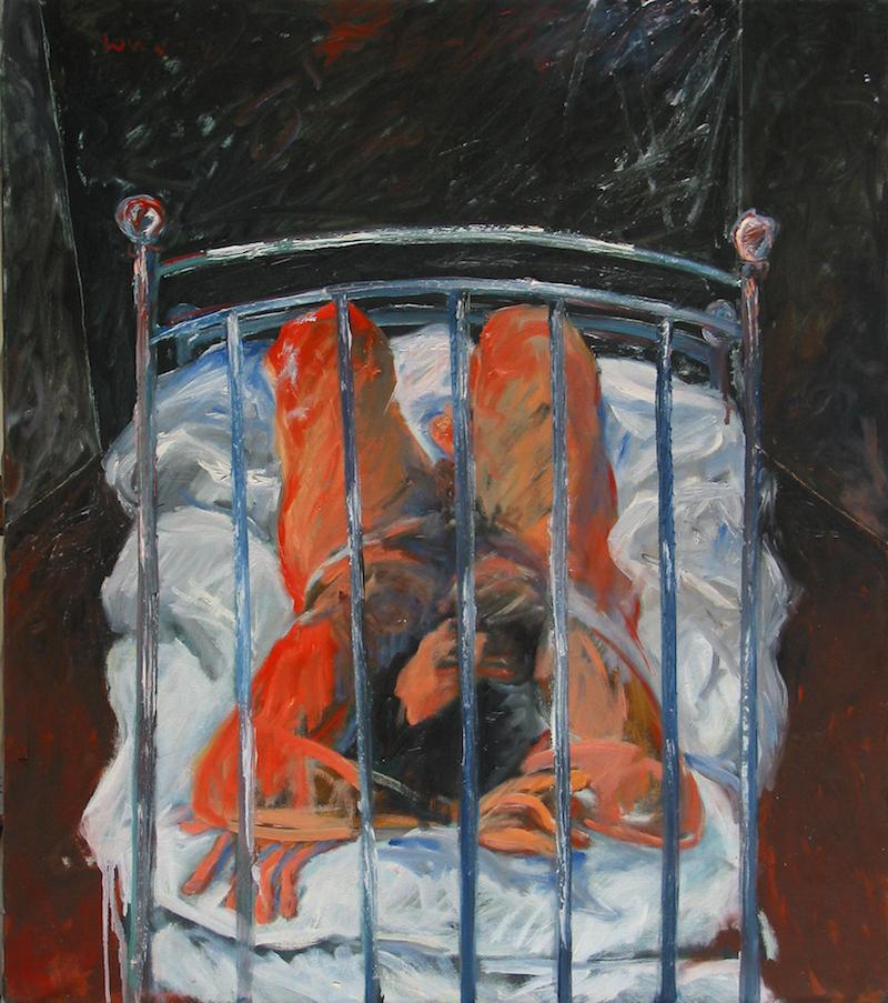 Felice Lovisco, Figura sul letto, olio su tela, 1975