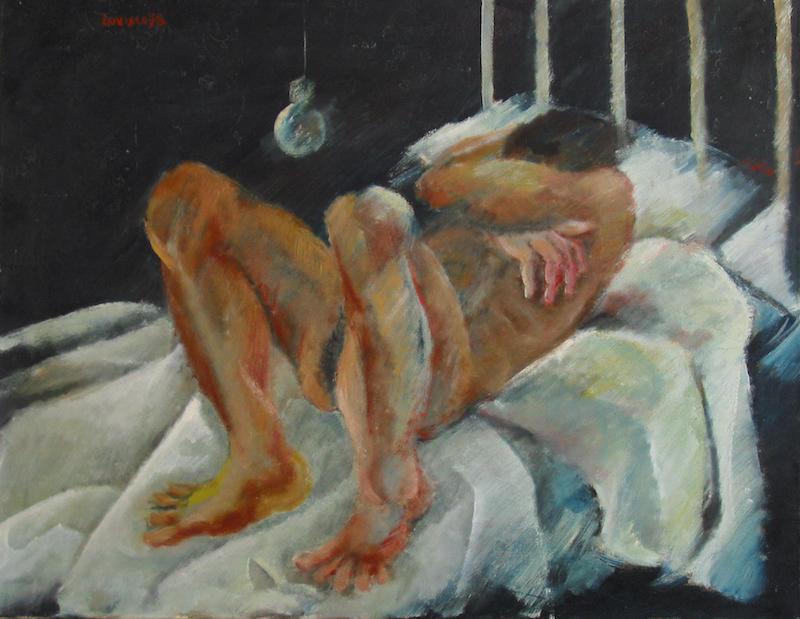 Felice Lovisco, Figura sul letto, olio su tela, 1978