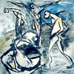 Felice Lovisco, Tecnica mista su carta, 1975 (raccolta)