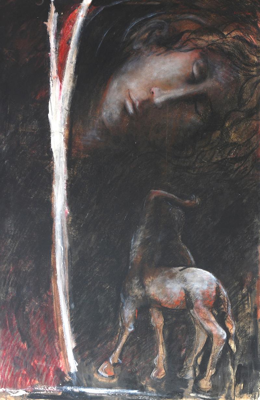 Felice Lovisco, Centauro nella notte, 2006, tecnica mista su cartone, 100x50 cm