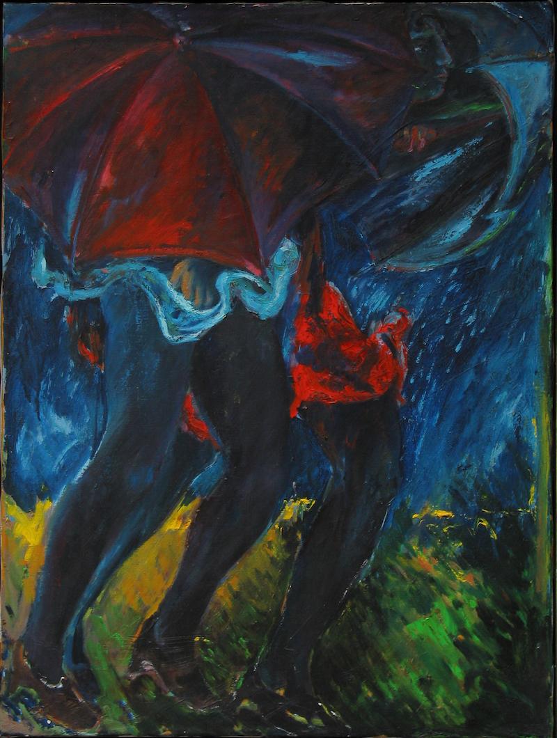 Felice_Lovisco_Donne-sotto-la-pioggia_1991