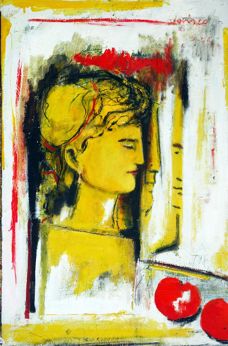 Felice Lovisco, Figura allo specchio, 2009, tecnica mista su carta, 45x60 cm