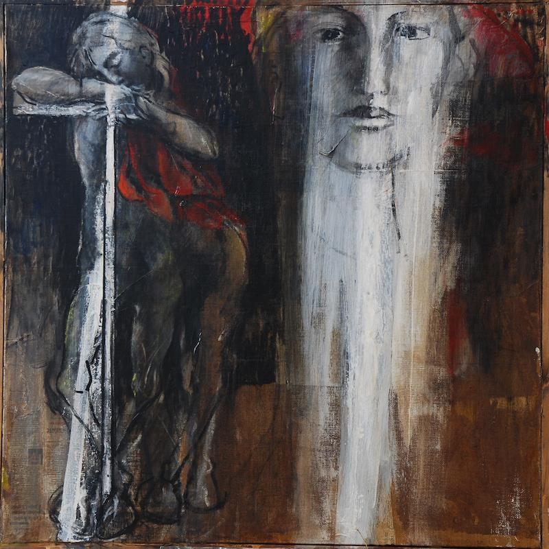Felice Lovisco, Il sogno del centauro, 2006, tecnica mista su carta intelata, 100,5x100,5 cm