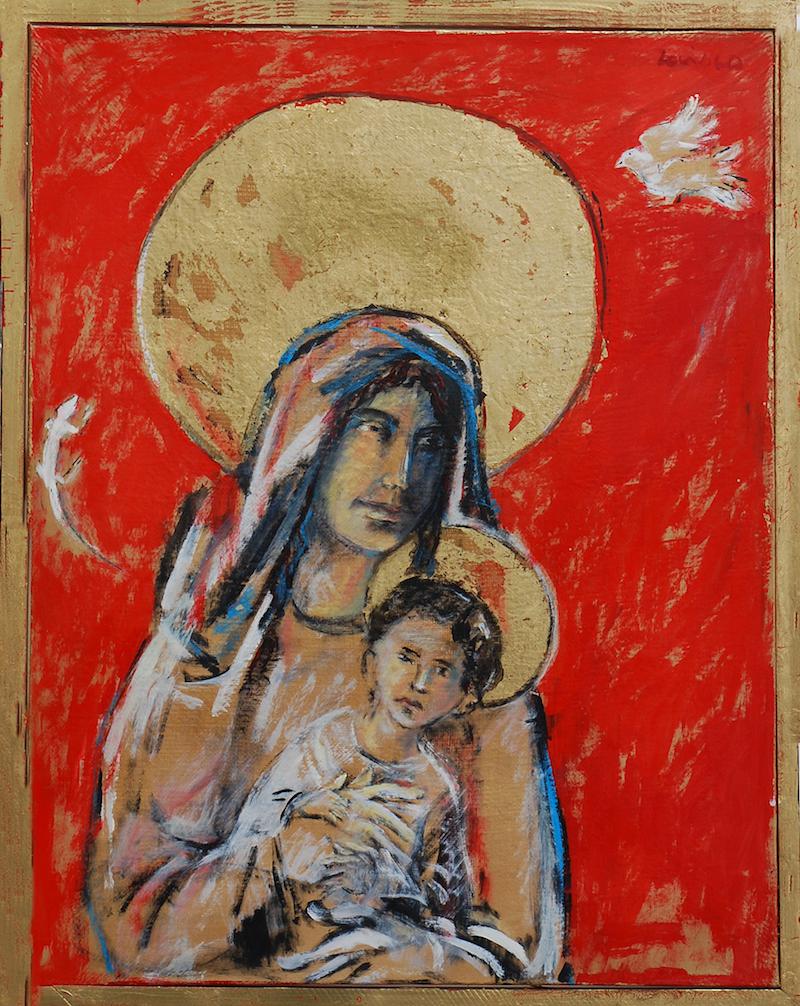 Felice Lovisco, Madonna con bambino, 1998, tecnica mista su carta intelata, 79x100 cm