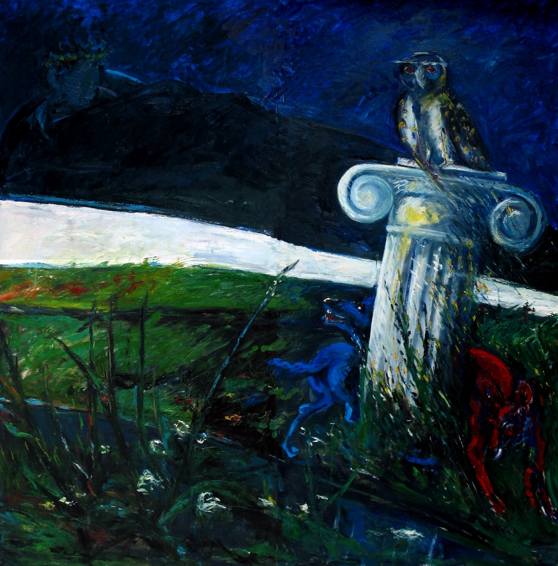 Felice Lovisco, Sulla foce dell'Ofanto, 1989, olio su tela, 200x200 cm