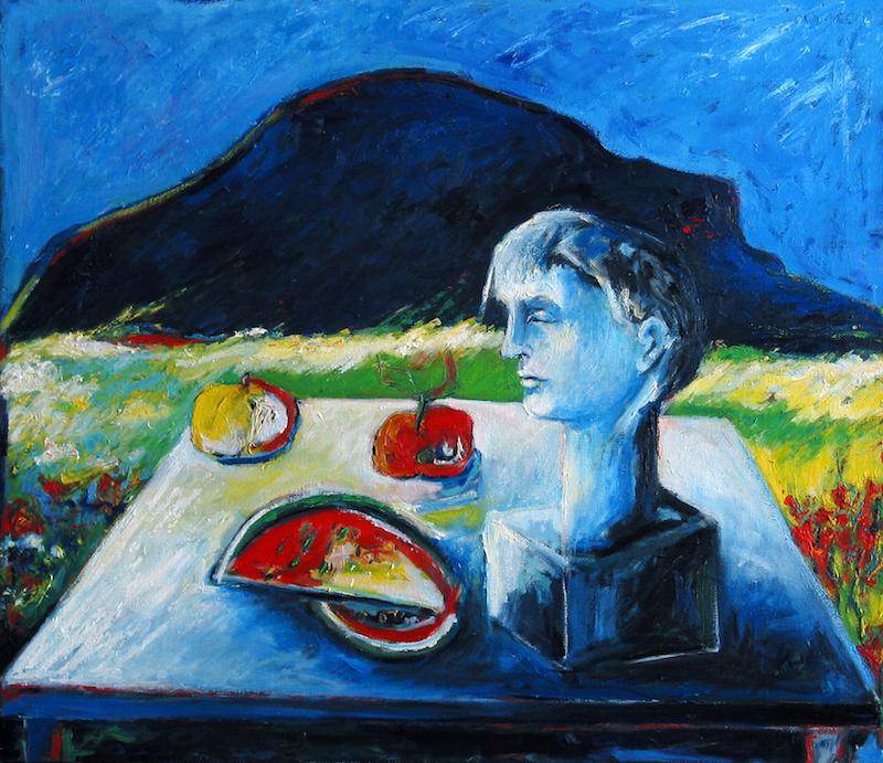 Felice_Lovsico_paesaggio con frutta_1991