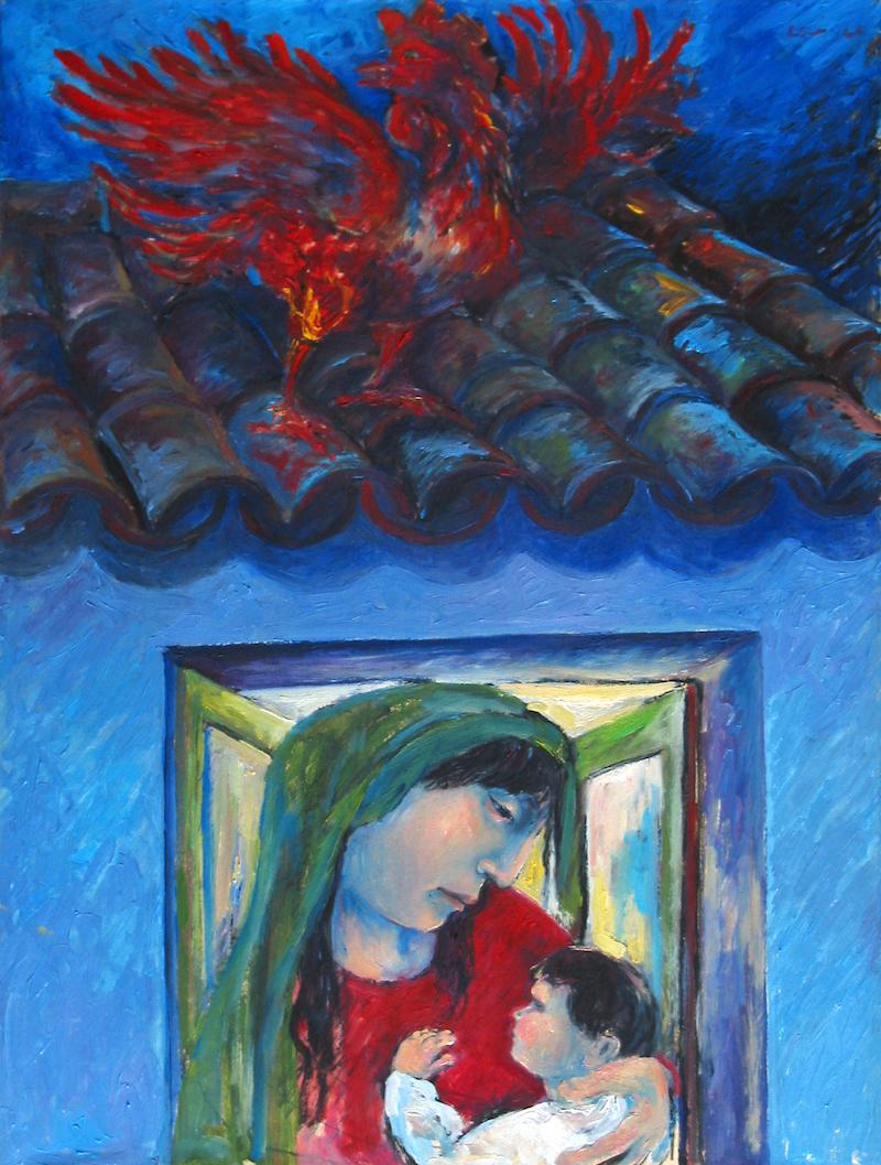 Felice_Lovisco_maternità con gallo_1983_olio su tela 60x80